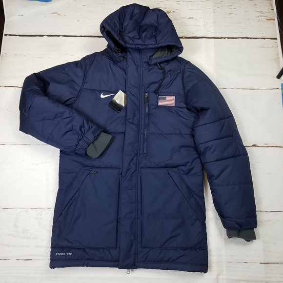 f6855ab121a0 Nike Mens Blue Puffer USA Long Jacket size small